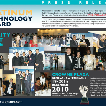 The Platinum Technology Award Press Release