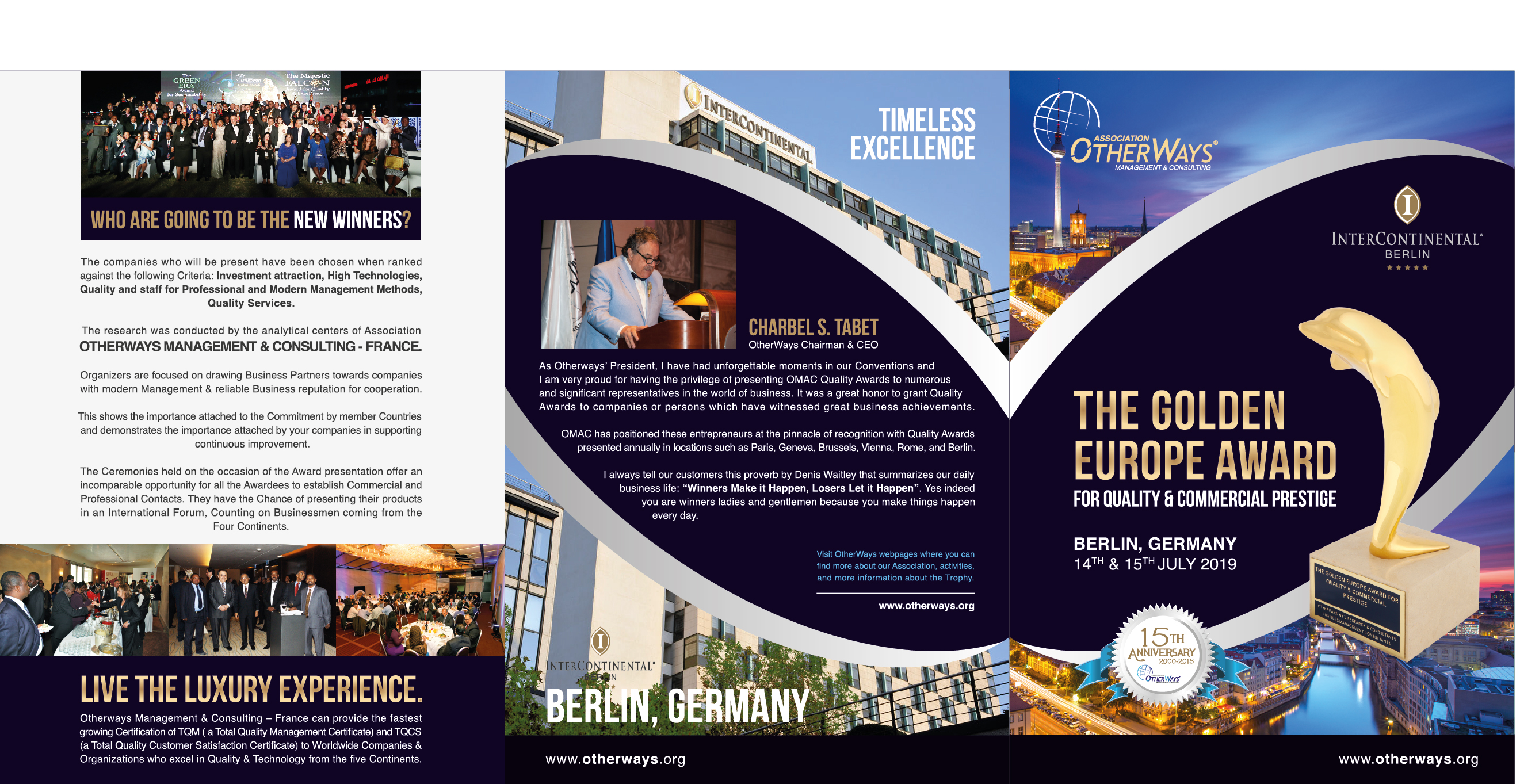 The Golden Europe Award For Quality & Commercial Prestige 14th – 15th July 2019 Berlin – Germany – Brochure